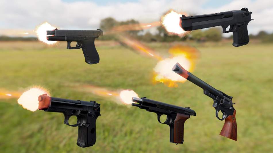 Animated FPS Pistol 5-Pack Unreal